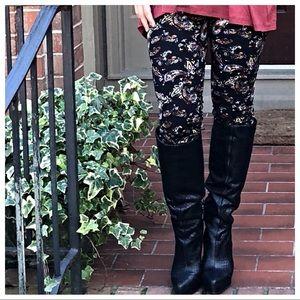 Pants - Black floral brushed soft leggings